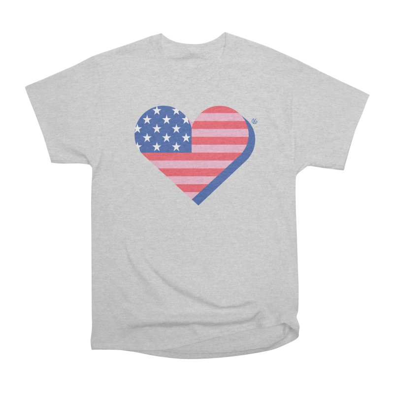 Flag Heart Men's Heavyweight T-Shirt by Kevin's Pop Shop