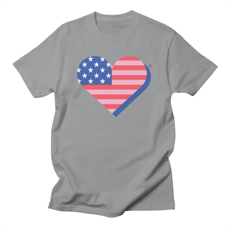 Flag Heart Men's Regular T-Shirt by Kevin's Pop Shop