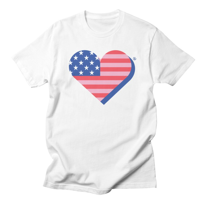 Flag Heart Men's Regular T-Shirt by Kevin's Pop Shop