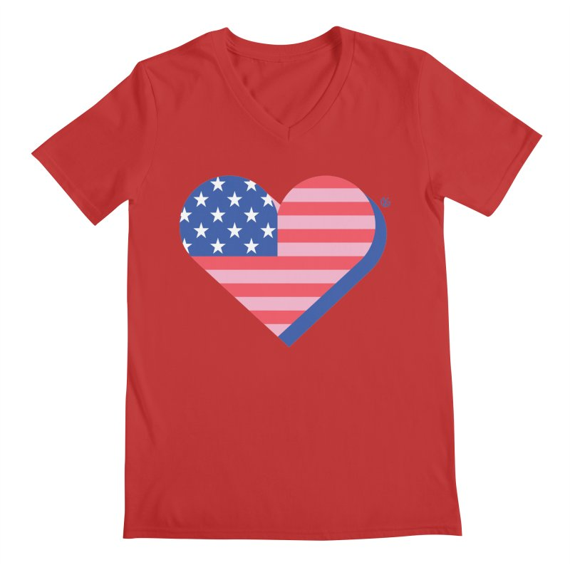 Flag Heart Men's Regular V-Neck by Kevin's Pop Shop