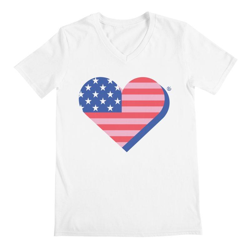 Flag Heart Men's Regular V-Neck by Kevin's Pop Shop