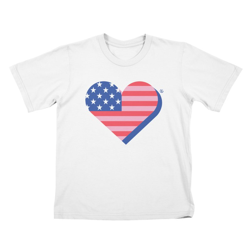 Flag Heart Kids T-Shirt by Kevin's Pop Shop