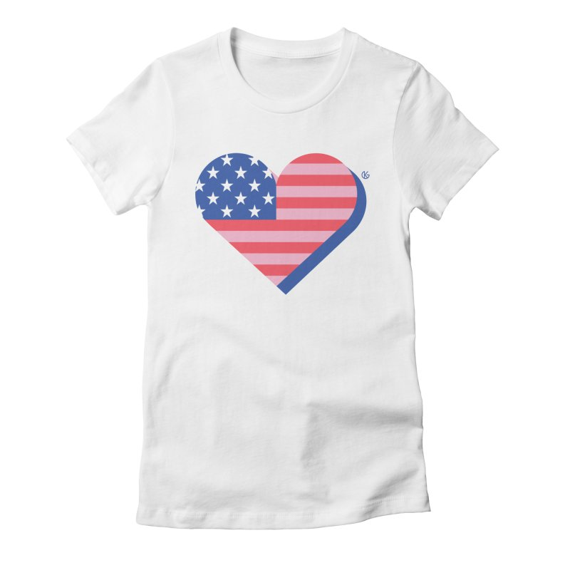 Flag Heart Women's T-Shirt by Kevin's Pop Shop