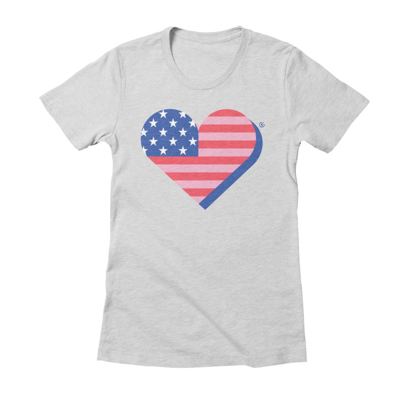 Flag Heart Women's Fitted T-Shirt by Kevin's Pop Shop