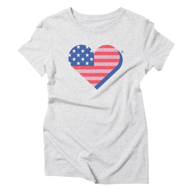 Flag Heart Women's Triblend T-Shirt by Kevin's Pop Shop