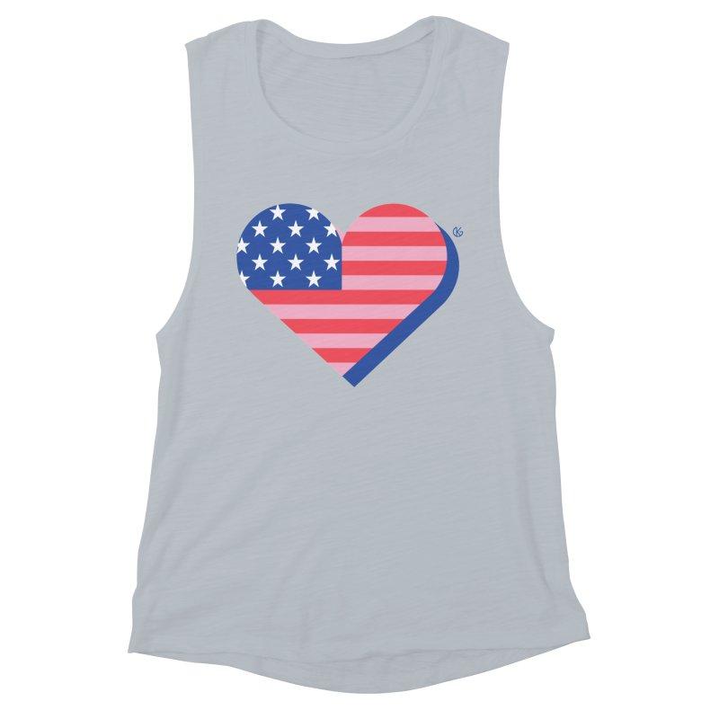 Flag Heart Women's Muscle Tank by Kevin's Pop Shop