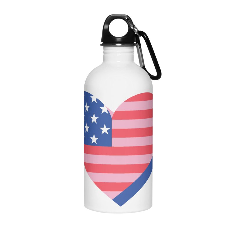Flag Heart Accessories Water Bottle by Kevin's Pop Shop