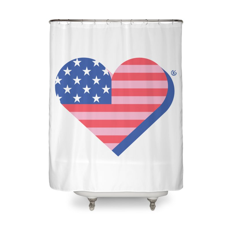 Flag Heart Home Shower Curtain by Kevin's Pop Shop