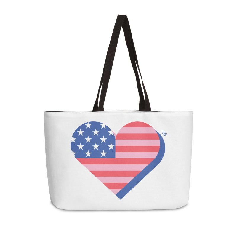 Flag Heart Accessories Weekender Bag Bag by Kevin's Pop Shop