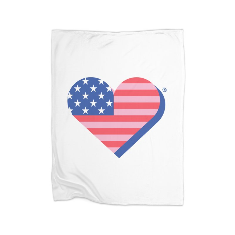 Flag Heart Home Blanket by Kevin's Pop Shop