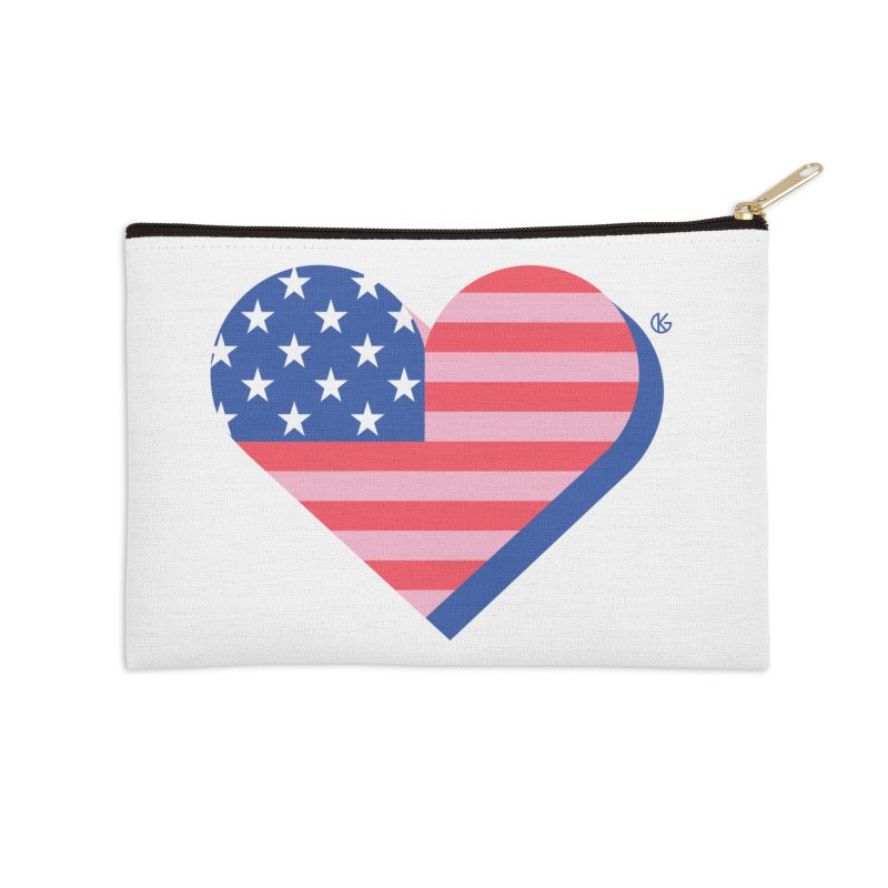 Flag Heart Accessories Zip Pouch by Kevin's Pop Shop