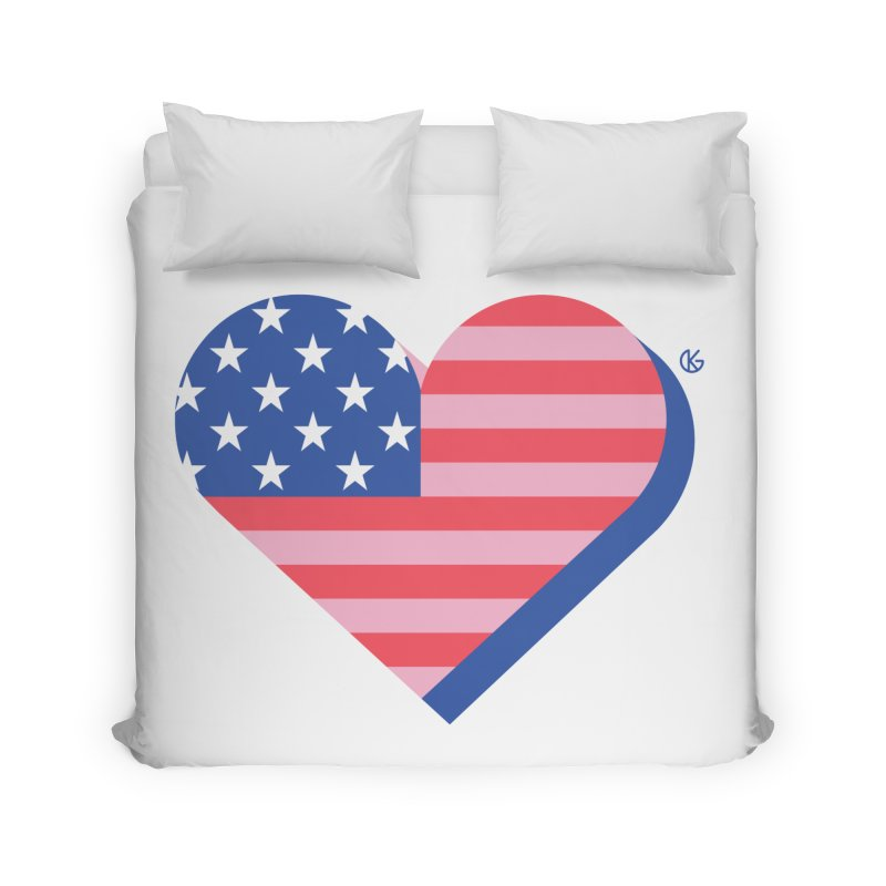 Flag Heart Home Duvet by Kevin's Pop Shop