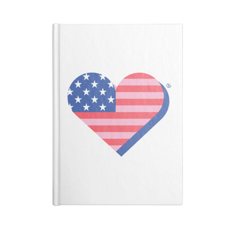 Flag Heart Accessories Blank Journal Notebook by Kevin's Pop Shop