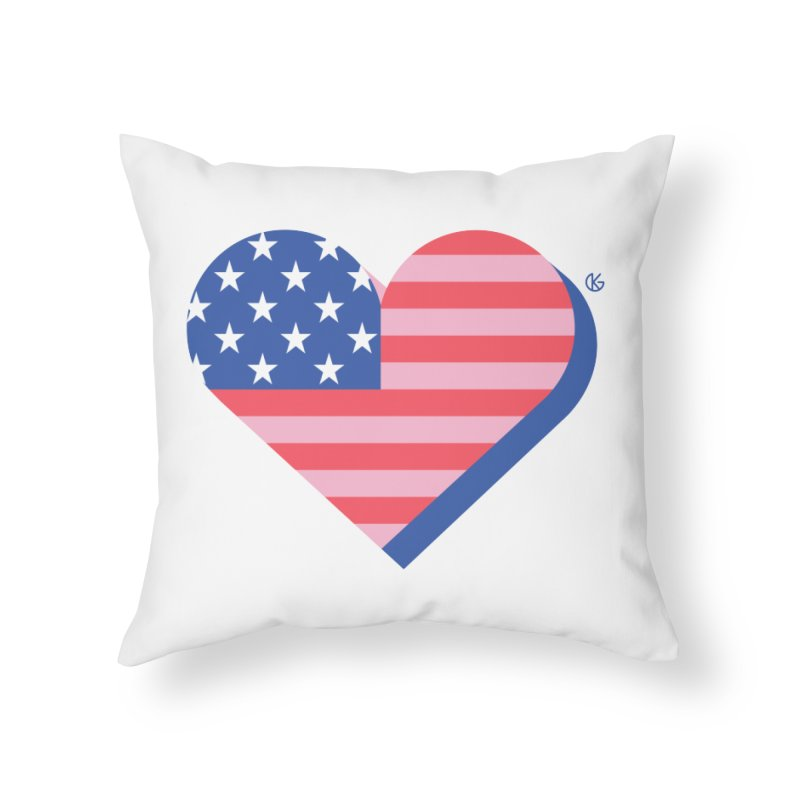 Flag Heart Home Throw Pillow by Kevin's Pop Shop