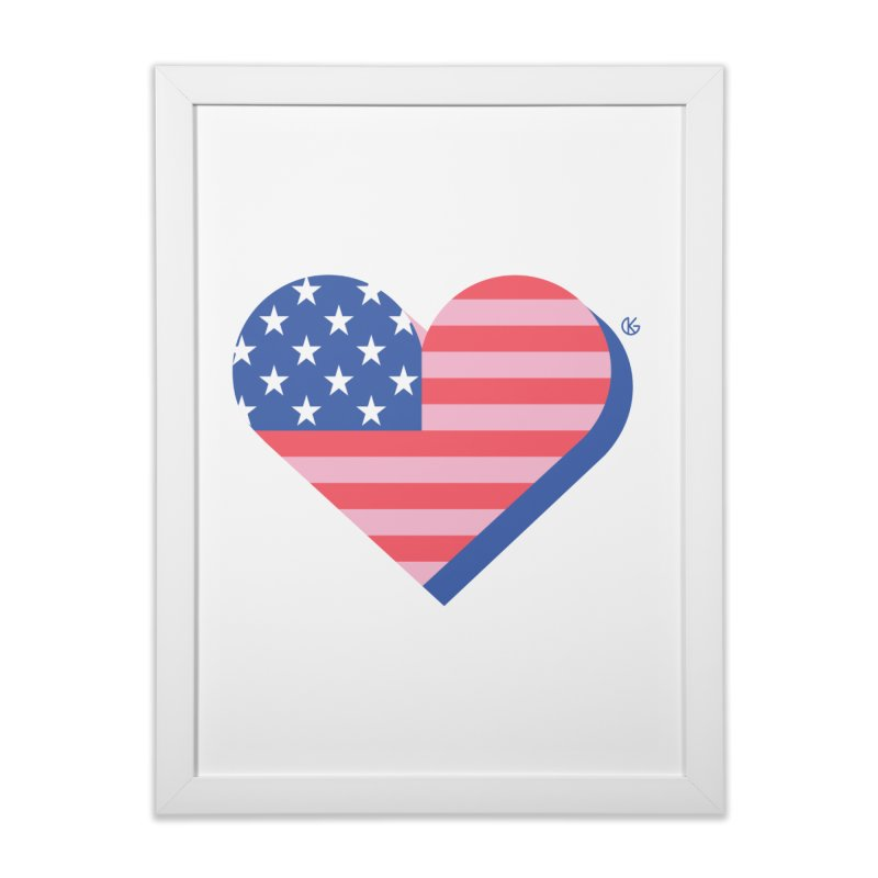 Flag Heart Home Framed Fine Art Print by Kevin's Pop Shop