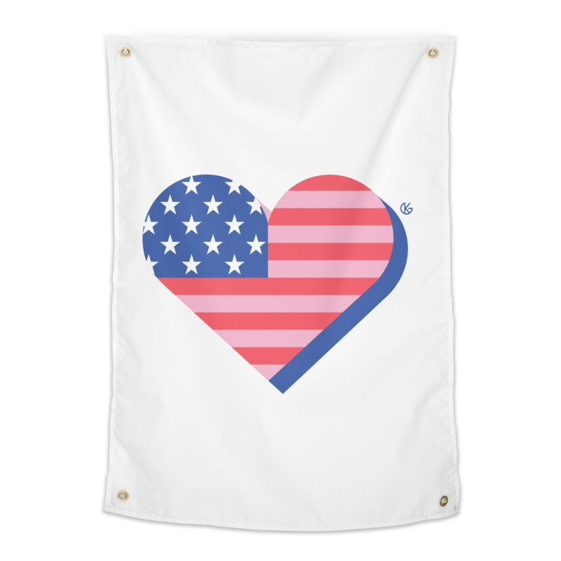 Flag Heart Home Tapestry by Kevin's Pop Shop