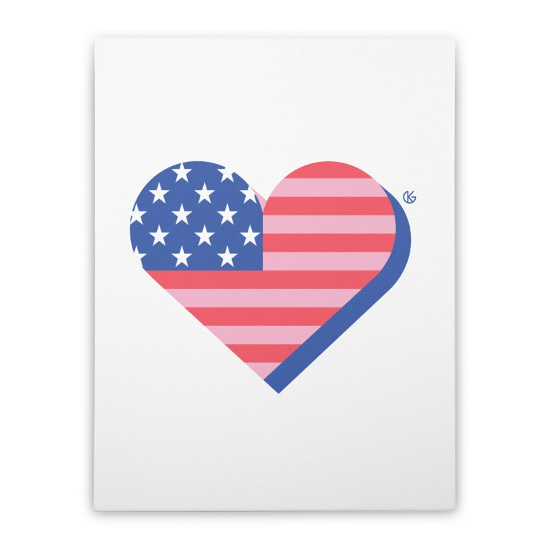 Flag Heart Home Stretched Canvas by Kevin's Pop Shop