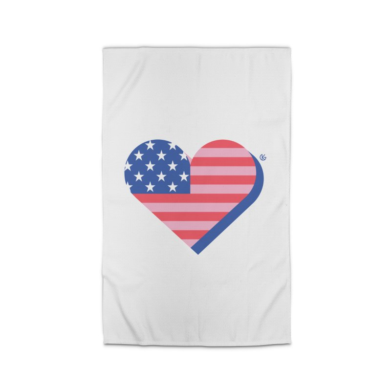 Flag Heart Home Rug by Kevin's Pop Shop