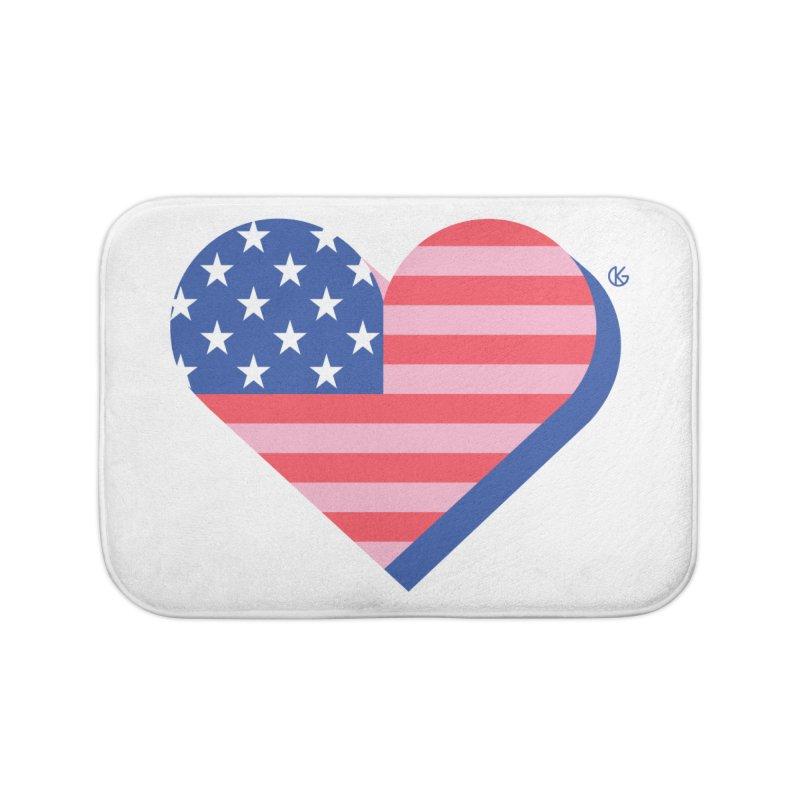 Flag Heart Home Bath Mat by Kevin's Pop Shop