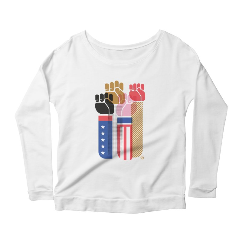 United We Stand Women's Scoop Neck Longsleeve T-Shirt by Kevin's Pop Shop