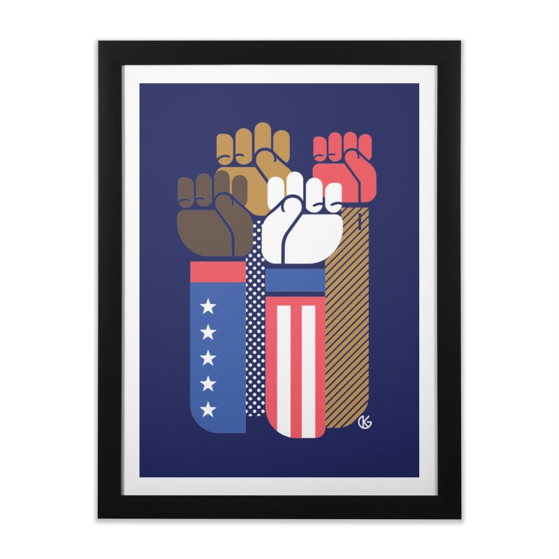 United We Stand Home Framed Fine Art Print by Kevin's Pop Shop