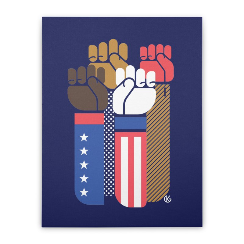 United We Stand Home Stretched Canvas by Kevin's Pop Shop