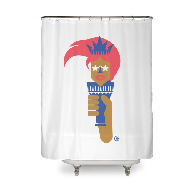 Lady Libery Home Shower Curtain by Kevin's Pop Shop