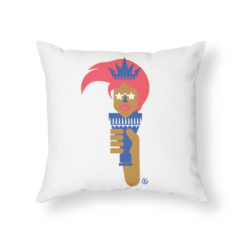 Lady Libery Home Throw Pillow by Kevin's Pop Shop