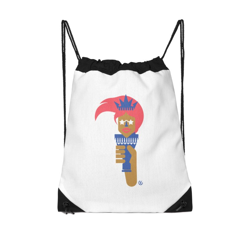 Lady Libery Accessories Drawstring Bag Bag by Kevin's Pop Shop