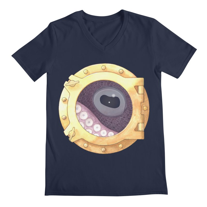 Here's Lookin' at You, Squid Men's Regular V-Neck by Kevin L. Wang Designs