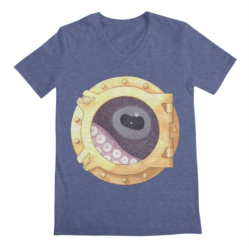 Here's Lookin' at You, Squid Men's V-Neck by Kevin L. Wang Designs