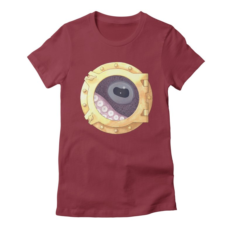 Here's Lookin' at You, Squid Women's Fitted T-Shirt by Kevin L. Wang Designs