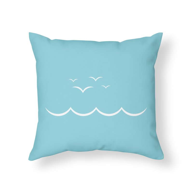 BEACH SERIES: Gulls and Waves Home Throw Pillow by The SHIZIRT