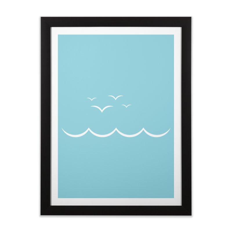 BEACH SERIES: Gulls and Waves Home Framed Fine Art Print by The SHIZIRT