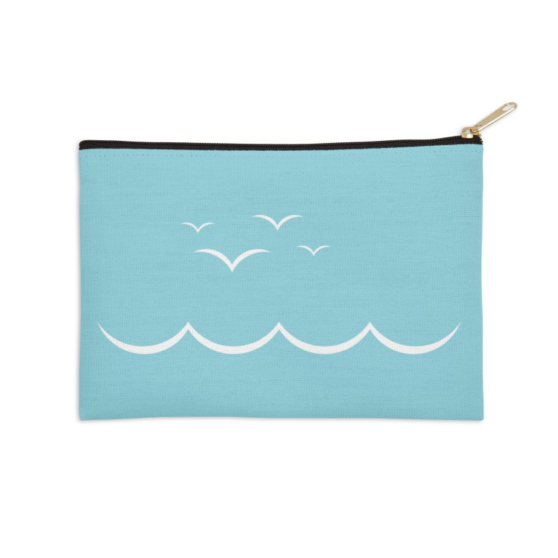 BEACH SERIES: Gulls and Waves Accessories Zip Pouch by The SHIZIRT