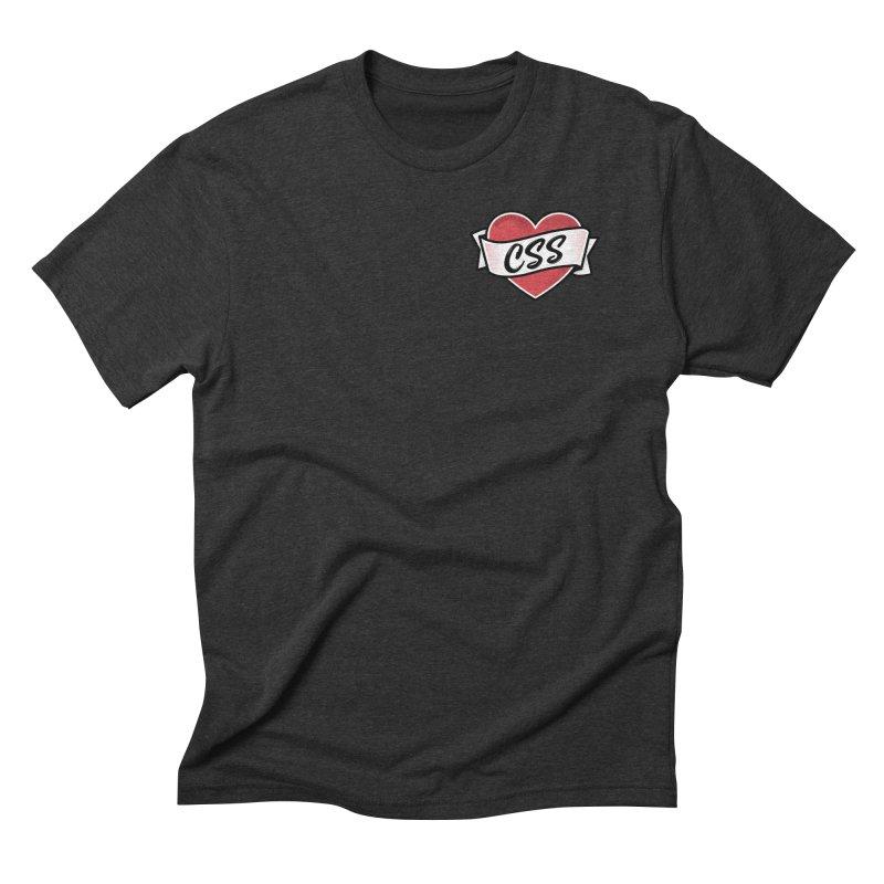 CSS Heart Men's T-Shirt by @keyframers Web Developer Merch