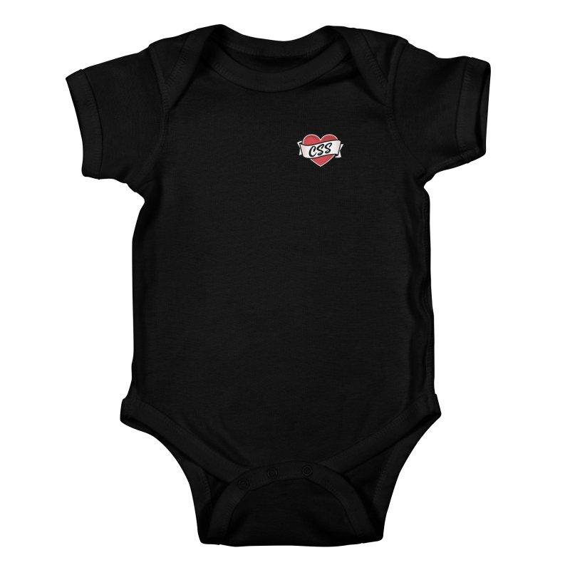 CSS Heart Kids Baby Bodysuit by @keyframers Web Developer Merch