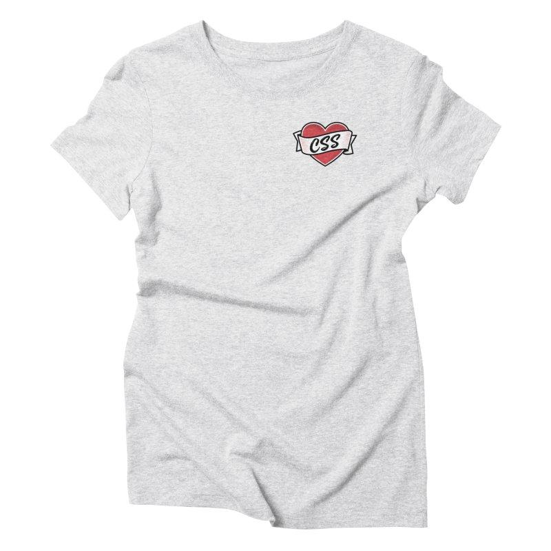 CSS Heart Women's T-Shirt by @keyframers Web Developer Merch