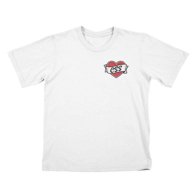 CSS Heart Kids T-Shirt by @keyframers Web Developer Merch