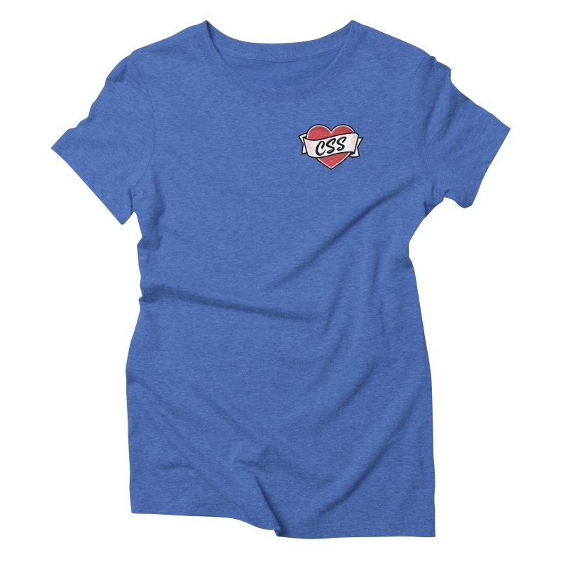 CSS Heart Women's Triblend T-Shirt by @keyframers Web Developer Merch