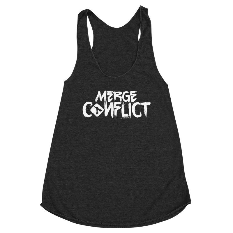 Merge Conflict Women's Racerback Triblend Tank by @keyframers Web Developer Merch