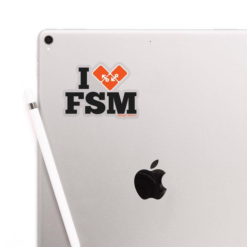I Heart Finite State Machines Accessories Sticker by @keyframers Web Developer Merch