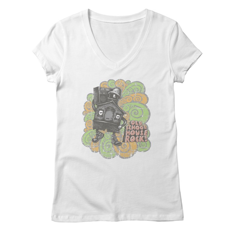 Old School House Rock Women's V-Neck by kg07's Artist Shop