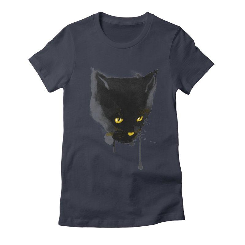 sumi cat Women's Fitted T-Shirt by kharmazero's Artist Shop
