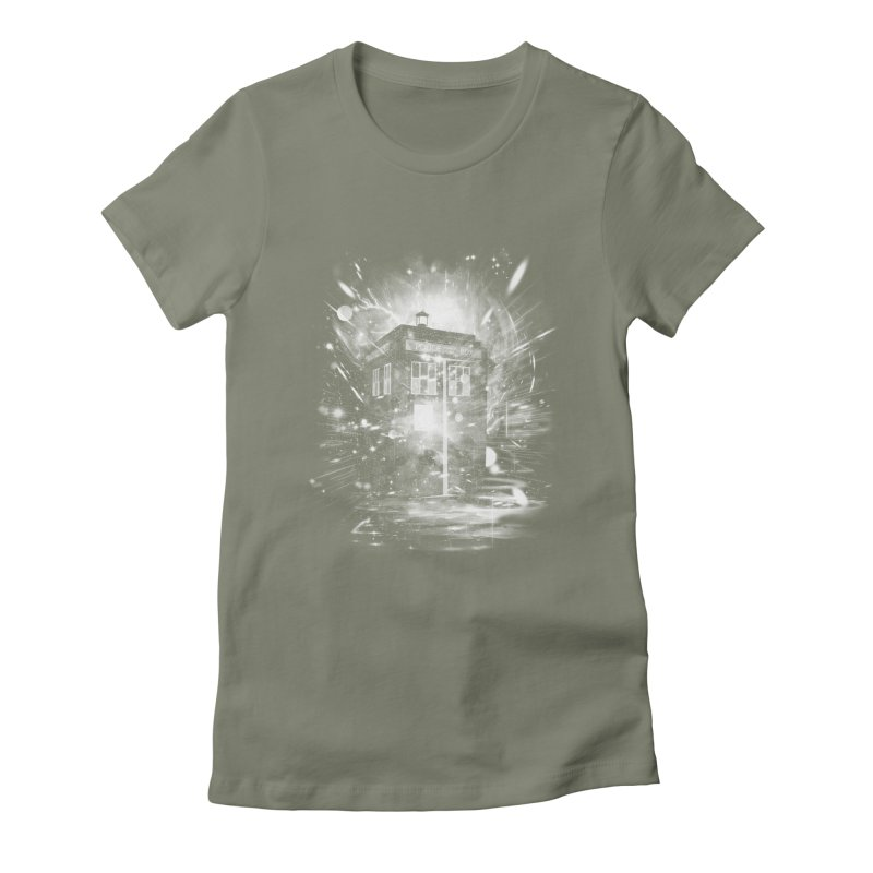 time and space ship Women's Fitted T-Shirt by kharmazero's Artist Shop