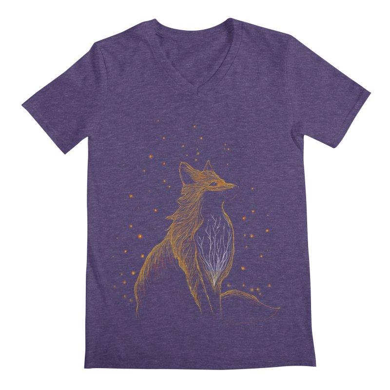 winter fox Men's V-Neck by kharmazero's Artist Shop