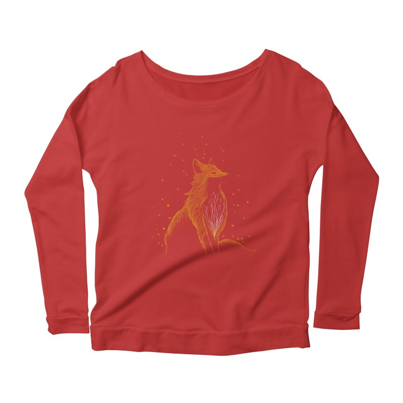 winter fox Women's Longsleeve Scoopneck  by kharmazero's Artist Shop