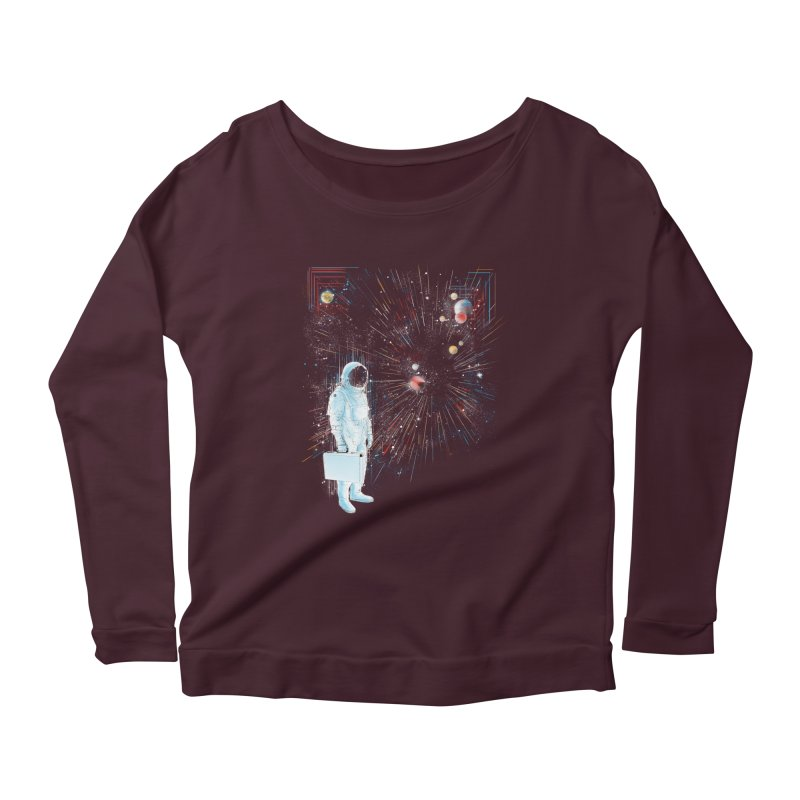 open workspace Women's Longsleeve Scoopneck  by kharmazero's Artist Shop