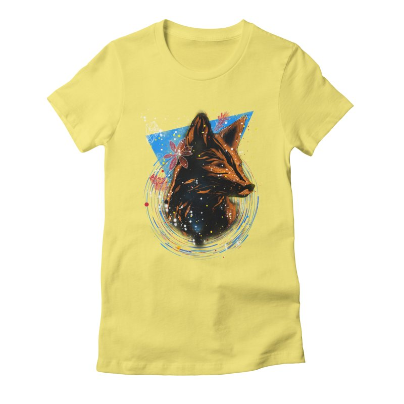 magical fox Women's Fitted T-Shirt by kharmazero's Artist Shop