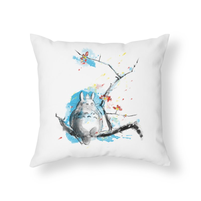 forest spirit a la hokusai Home Throw Pillow by kharmazero's Artist Shop
